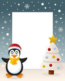 Christmas White Tree - Cute Penguin. Christmas vertical photo frame with a Christmas tree and a a happy penguin smiling in a snowy scene. Eps file available Stock Photography