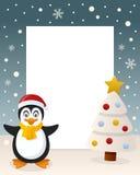 Christmas White Tree - Cute Penguin stock photography
