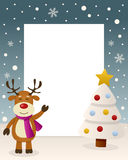 Christmas White Tree - Cute Reindeer. Christmas vertical photo frame with a Christmas tree and a happy reindeer smiling in a snowy scene. Eps file available Stock Images