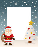 Christmas White Tree - Cute Santa Claus. Christmas vertical photo frame with a Christmas tree and a happy Santa Claus smiling and holding the sack of the gifts Royalty Free Stock Images