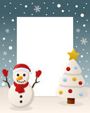 Christmas White Tree - Cute Snowman. Christmas vertical photo frame with a Christmas tree and a happy snowman smiling in a snowy scene. Eps file available Stock Photography