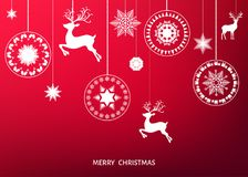 Christmas white  tree decoration  on  red  background. Royalty Free Stock Photo
