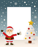 Christmas White Tree - Drunk Santa Claus. Christmas vertical photo frame with a Christmas tree and a drunk Santa Claus in a snowy scene. Eps file available Royalty Free Stock Photo