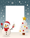 Christmas White Tree - Drunk Snowman. Christmas vertical photo frame with a Christmas tree and a drunk snowman in a snowy scene. Eps file available Royalty Free Stock Photography