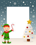 Christmas White Tree Frame - Green Elf Royalty Free Stock Image