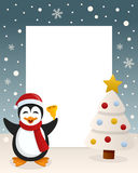 Christmas White Tree Frame & Penguin Stock Image
