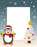 Christmas White Tree Frame - Penguin. Christmas vertical photo frame with a Christmas tree and a happy penguin smiling in a snowy scene. Eps file available Royalty Free Stock Images