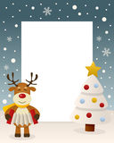 Christmas White Tree Frame - Reindeer. Christmas vertical photo frame with a Christmas tree and a happy reindeer playing the accordion in a snowy scene. Eps file Royalty Free Stock Photography