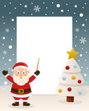 Christmas White Tree Frame & Santa Claus. Christmas vertical photo frame with a Christmas tree and a happy Santa Claus smiling as a orchestra leader in a Stock Image