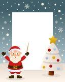 Christmas White Tree Frame & Santa Claus stock image