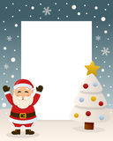Christmas White Tree Frame - Santa Claus. Christmas vertical photo frame with a Christmas tree and a happy Santa Claus smiling in a snowy scene. Eps file Royalty Free Stock Photo