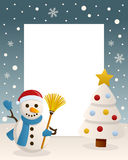 Christmas White Tree Frame & Snowman. Christmas vertical photo frame with a Christmas tree and a happy snowman smiling and holding a broom in a snowy scene Stock Images