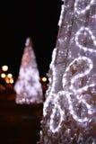Christmas white trees street decoration Stock Photo