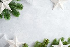 Christmas white wooden background top view. Template for New Year space for text. Mockup for advertising, congratulations. Holiday. Greeting Cards Design royalty free stock image