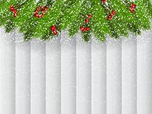 Christmas background with fir branches and red berries royalty free stock photography