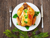Christmas whole roasted chicken Stock Photography