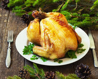 Christmas whole roasted chicken Stock Images