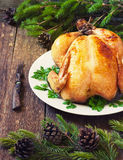 Christmas whole roasted chicken Royalty Free Stock Photography