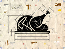 Christmas whole turkey symbol as technical blueprint drawing Royalty Free Stock Photos