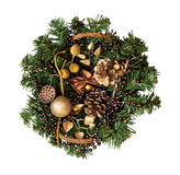 Christmas wicker basket with decorations and a branch of pine Stock Image