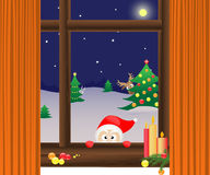 Christmas window. With Santa Claus, elk and hare stock illustration