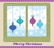 Christmas window. Illsutration of christmas decorations hung on the window Royalty Free Stock Images