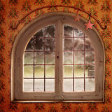 Christmas window. Christmas background with window and winter landscape Royalty Free Stock Photography
