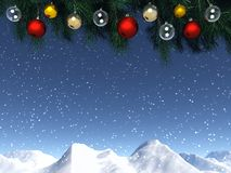 Christmas window. Very realistic Christmas decorations on a mountains background royalty free illustration