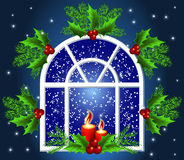 Christmas window. With candles and snow Royalty Free Stock Images