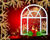 Christmas window. With burning candles Stock Photo
