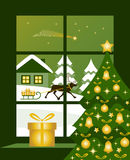 Christmas window. Reindeer pulling sledge with gifts outside window Royalty Free Stock Images