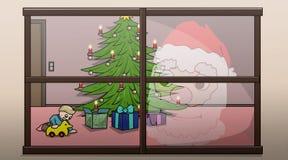 Christmas window. Santa watches a kid unpacking its christmas presents Royalty Free Stock Photo
