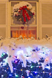 Christmas Window. Decorated house during the Christmas and New Year Stock Photo