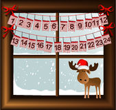 Christmas window with advent calendar Royalty Free Stock Images