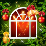 Christmas window with bells Royalty Free Stock Photography