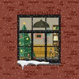 Christmas window in brick wall. Royalty Free Stock Image