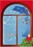Christmas window with candle. Icy christmas window with candle Royalty Free Stock Photos