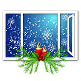 Christmas window with candles Royalty Free Stock Image