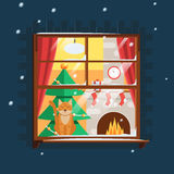 Christmas window with Christmas tree. Fireplace and a cat on the windowsill. The snow, the front of the house with a window. Vector illustration Stock Photography