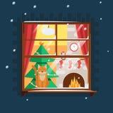 Christmas window with Christmas tree Stock Photography