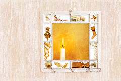 Christmas window collage gold Royalty Free Stock Photos