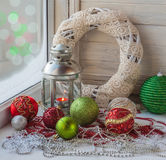 Christmas window decoration. Royalty Free Stock Photography