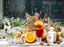 Christmas window decoration Mulled wine fruits spices royalty free stock photos