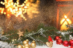A Christmas window decorations Stock Image