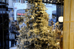 CHRISTMAS WINDOW DECORATONS Stock Photos