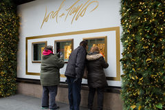 Christmas Window Display Lord & Taylor NYC Stock Photos