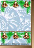 Christmas window with golden bells Royalty Free Stock Photo
