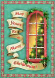 Christmas window. Christmas Greeting card with window and banner. Computer graphics Royalty Free Stock Photo