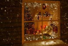 Christmas Window Holiday Home Lights, Room Decorated Xmas Tree Stock Image
