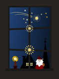 Christmas Window (II). Christmas night: Window decorated with Christmas ornaments and candle looking out on silent little town and starlit sky stock illustration